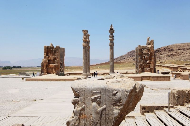 Old ruin at persepolis against clear sky