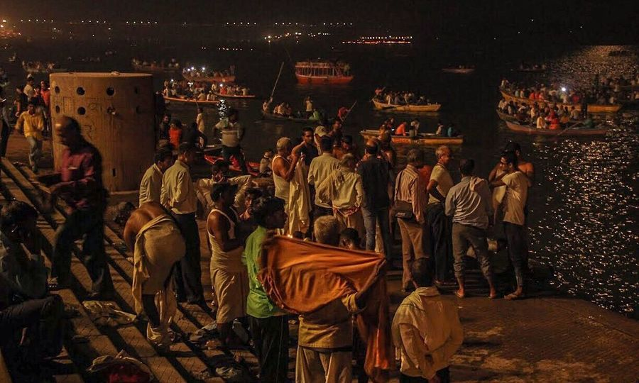 Varanasi, India Ganges, Indian Lifestyle And Culture, Bathing In The Ganges, Large Group Of People Night Men Crowd Adult Adults Only People Outdoors Only Men