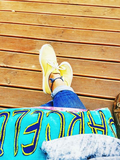Don't worry about walking a mile in my shoes. Just try a day thinking in my head 😏 Low Section Person Shoe Standing Personal Perspective High Angle View Footwear Casual Clothing Day Outdoors Wood Paneling Barcelona♡♥♡♥♡ Mybarcelonabag