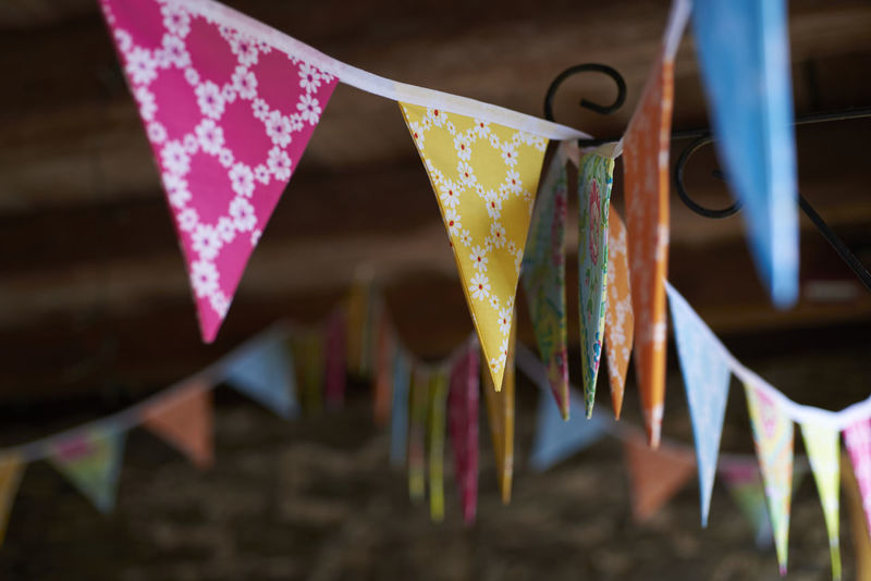 Bunting Celebration Children Party Close-up Clothespin Day Family Party Focus On Foreground Hanging Indoors  No People Ribbon Ribbon - Sewing Item