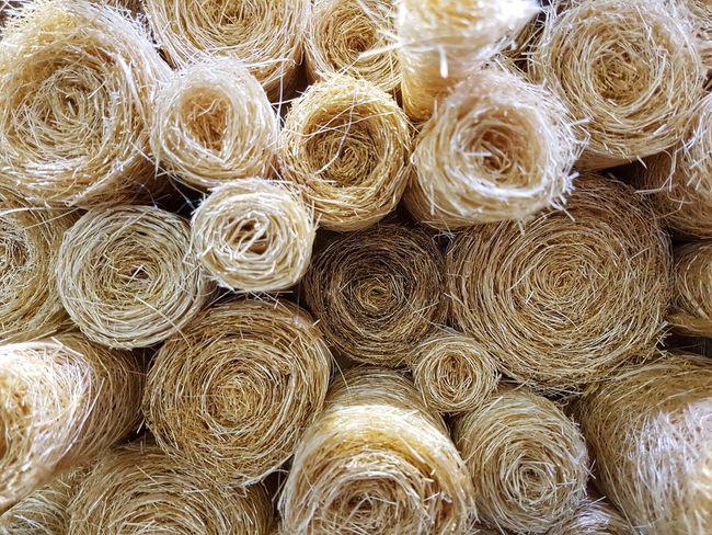 Close up of fibre roll. Fiber Roll Backgrounds Full Frame Stack Pattern Close-up Pile