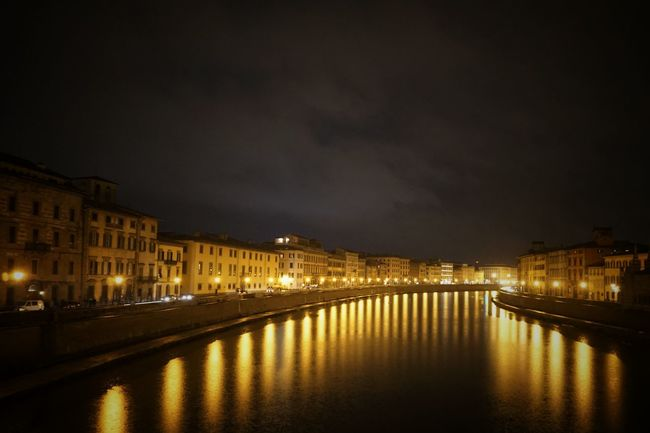 Lights in the river | Pisa Arno  River Night Lights Toscana Architecture New Year Around The World All The Neon Lights The Architect - 2016 EyeEm Awards The Street Photographer - 2016 EyeEm Awards Showcase: January Lungarno Walking Around The City  EyeEm Italy |