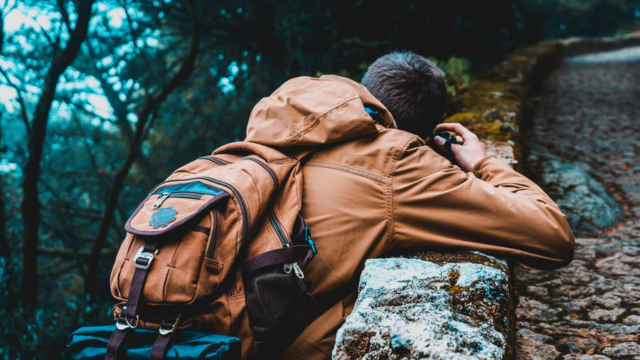 Immortalize the Moment Moment Sintra (Portugal) Adventure Backpack Cold Temperature Forest Forest Photography Forest Trees Hiking Men Nature One Person Orange And Blue Photography Rear View Tree