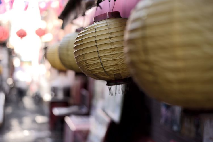 Close-up of a basket hanging at market stall