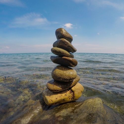 Sea Balance Horizon Over Water Water Stack Sky Nature Rock - Object Pebble Beach