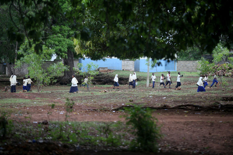 Group of people on field against trees