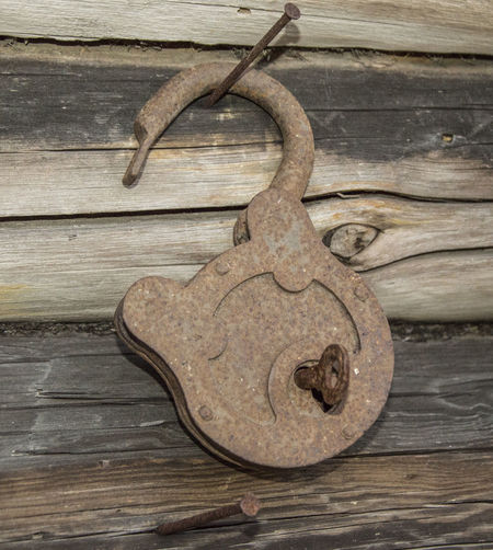 Alt Baulks Dielen Lock Metal Metallic Old Padlock Rost Rust Verriegeln Vorhängeschloss Metallic Lock