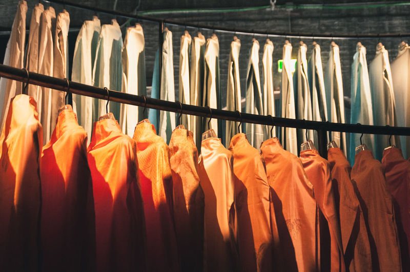 Panoramic view of clothes hanging at store