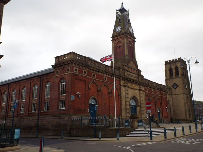 Civic Hall in Stalybridge with Trinity Church in the background Civic Hall Stalybridge United Kingdom Trinity Church Church
