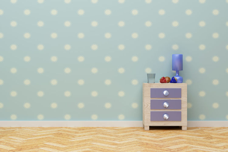 3d rnedering of a blue room with a nightstand 3d Rendering Nightstand Bedroom Blue Child Copyspace Floor Indoors  No People Papered