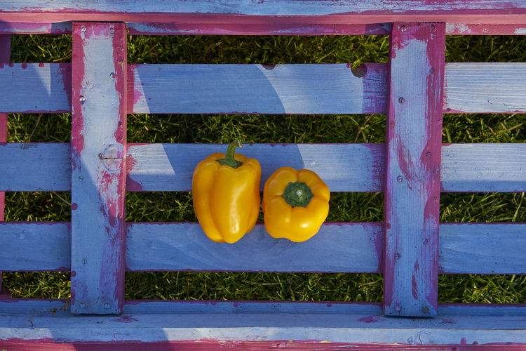 Agriculture Barrier Bench Close-up Day Food Food And Drink Freshness Fruit Healthy Eating High Angle View Nature No People Outdoors Pepper Plant Vegetable Wellbeing Wood - Material Yellow