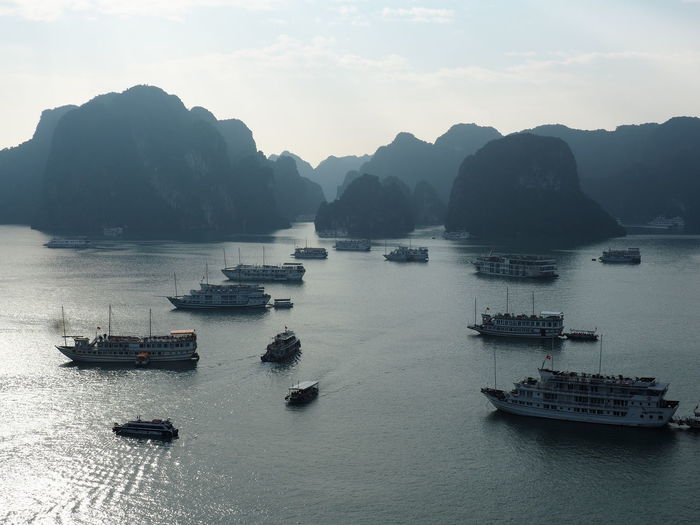 Ha Long Bay Beauty In Nature Scenics - Nature Water Sea Nautical Vessel Transportation Karstic Rock Formations Mountain Range Cruise Ship EyeEm Nature Lover