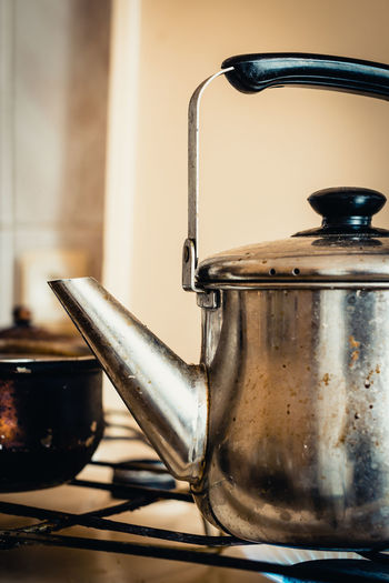 Appliance Burner - Stove Top Close-up Coffee Pot Container Cooking Pan Domestic Kitchen Domestic Room Focus On Foreground Food And Drink Home Home Interior Household Equipment Indoors  Kitchen Kitchen Utensil Metal No People Preparation  Saucepan Steel Still Life Stove