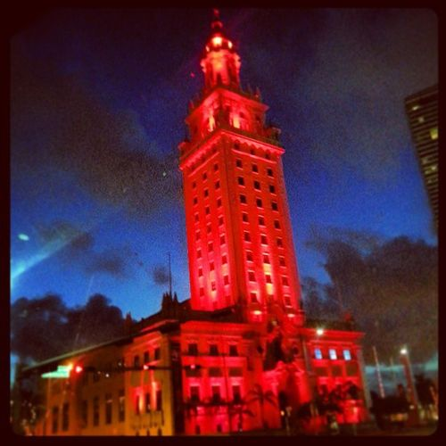 Downtownmiami Freedomtower HistoricalLandmark Nighttime Brightlights Cubanimmigration 1960s This is where my family & came thru & got processed thru in 1968 when we arrived from Cuba on the freedom flights. I was 6 months old.
