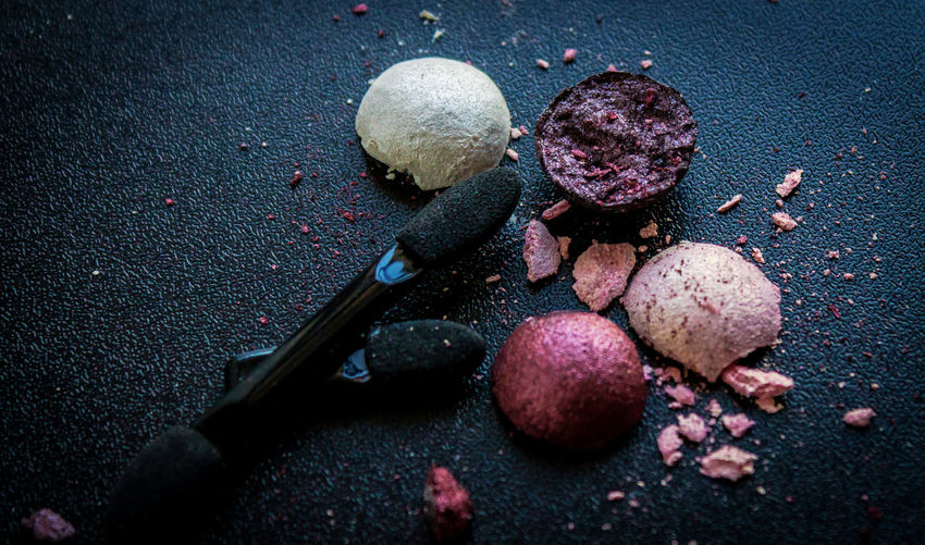 Beauty Black Background Broken Brush Close-up Colors Cosmetics Crake High Angle View Makeup No People