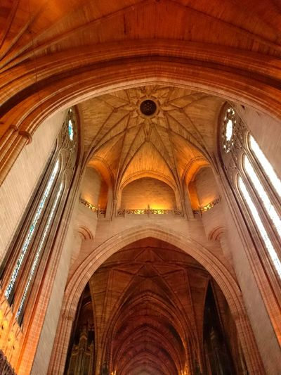 Low Angle View Arch Architecture Indoors  Built Structure No People Place Of Worship Religion Illuminated Architecture And Art Day Cathedral Liverpool Anglican Cathedral Liverpool Anglican Cathederal Liverpool Roof Church Religious Buildings
