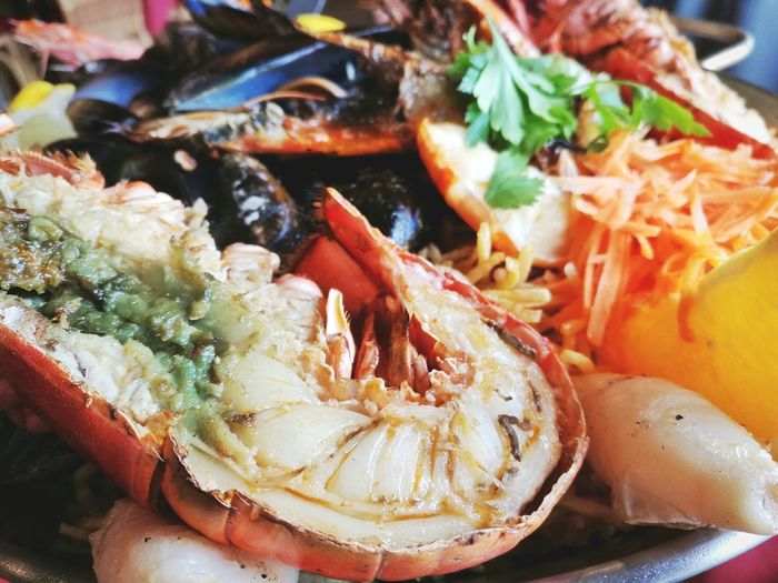 Close-up of seafood in serving dish