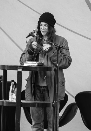 My favorite Queen of Punk, Patti Smith, doing a reading from her book Just Kids. Famous People Patti Smith Punk Rock'n'Roll Music Performance Rockstar Blackandwhite Stage Eye4photography