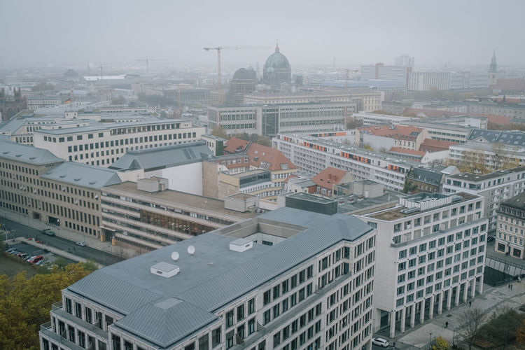 Berlin Aerial View City Berlin Berliner Ansichten Building Exterior Built Structure Architecture No People Building Outdoors Cityscape High Angle View Sky Residential District Nature Day Fog Travel Destinations City Life Roof Office Building Exterior Skyscraper