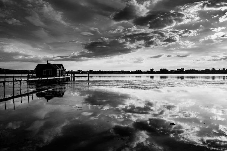 Brandenburg Blackandwhite Cloud - Sky Sky Water Reflection Reflection Lake No People Outdoors Nature Lake Lonelyplanet Beautiful View Beauty Backgrounds Germany BeautifulGermany Tranquility Scenics Day Black&white Blackandwhitephotography BW_photography Cloudporn My Year My View