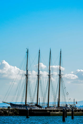 Transportation Nautical Vessel Sky Mode Of Transportation Sailboat Water Sea Pole Nature Architecture No People Mast Day Travel Cloud - Sky Waterfront Built Structure Copy Space Connection Outdoors Yacht Luxury