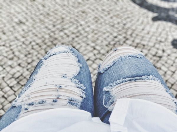 Low Section Human Leg Shoe Fashion High Angle View Jeans Blue Personal Perspective Street Limb