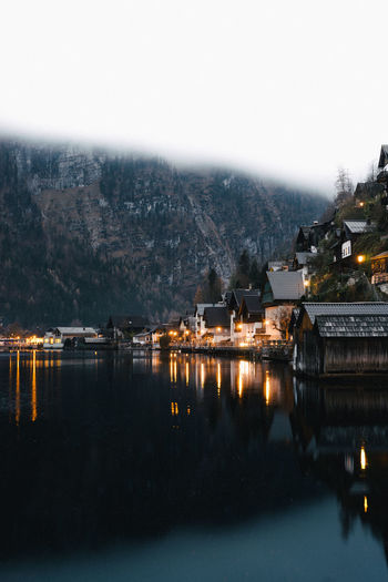 Hallstatt at night Architecture Beauty In Nature Building Exterior Built Structure City Clear Sky Illuminated Mountain Nature Nautical Vessel Night No People Outdoors Reflection Sky Water An Eye For Travel Shades Of Winter