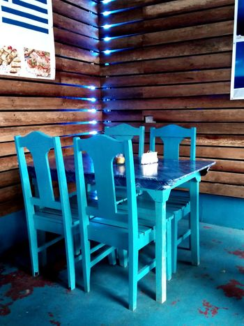 Chair Table Wood - Material Blue
