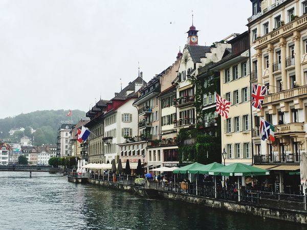The Reuss river shore viewed from the Kappelbrücke - Lucerne Lake Lucerne Switzerland EyeEmNewHere Your Ticket To Europe