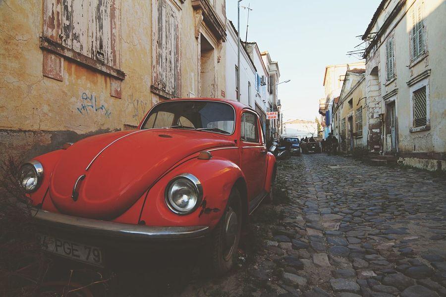 Old Houses Pavedstreet Paved Road Pavedstreets Red Beetle Pastel Power VW Beetle Cunda Cunda Island Turkey Türkiye MeinAutomoment The Street Photographer - 2017 EyeEm Awards
