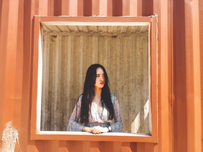 Girl in the box. EyeEmPortraits EyeEm Selects Red Color One Person Long Hair Front View Young Adult Real People Curtain Indoors  Beautiful Woman Portrait Standing