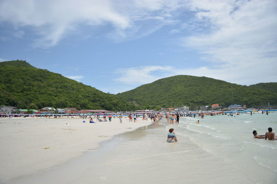 Chan Buri beach Beach Beauty In Nature Cloud - Sky Leisure Activity Lifestyles Outdoors People Relaxation Sand Sea Travel Destinations Vacations Water