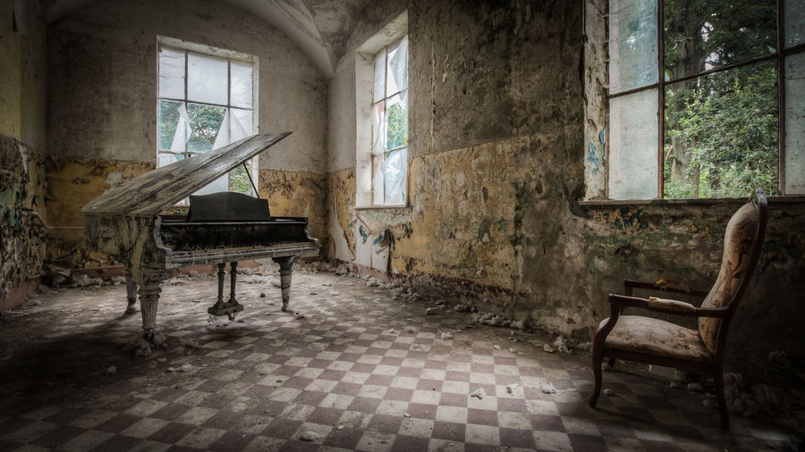 Abandoned Architecture Chair Day Empty Indoors  Lost Places No People Piano