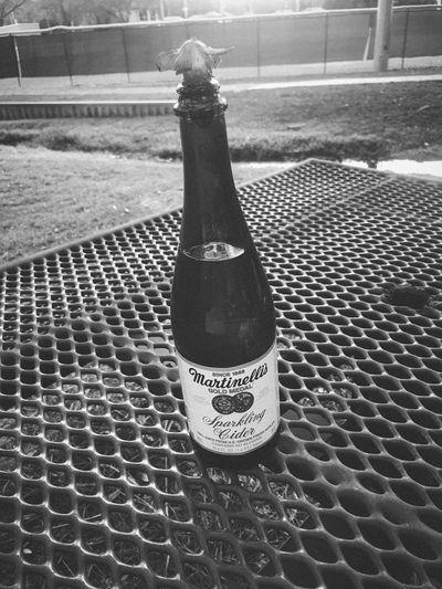Sparkling cider Park Bench Blackandwhite Sparkling Cider Cider Bottle Text No People Drink