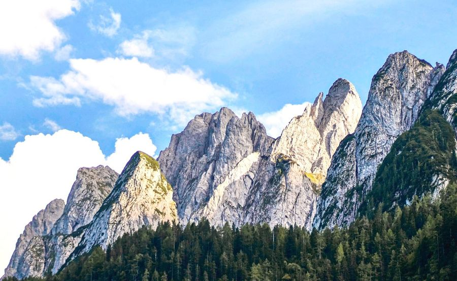 Bergkamm am Gosauer See Sunset Wanderlust Mountain Mountain Range Nature Rock - Object Physical Geography Sky Rocky Mountains No People Scenics Low Angle View Day Beauty In Nature Snow Outdoors Landscape Tree