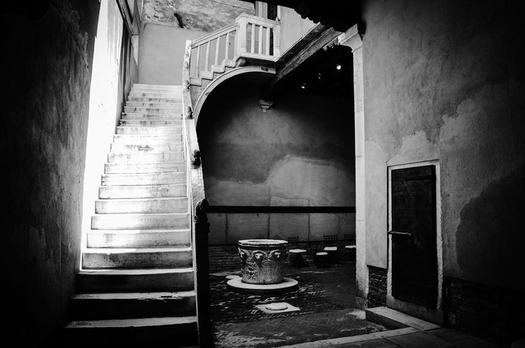 Architecture Atmosphere Blackandwhite Building Exterior Built Structure Courtyard  Font Monochrome Moody Venetian Venice Venice, Italy The Secret Spaces The Architect The Week On EyeEm