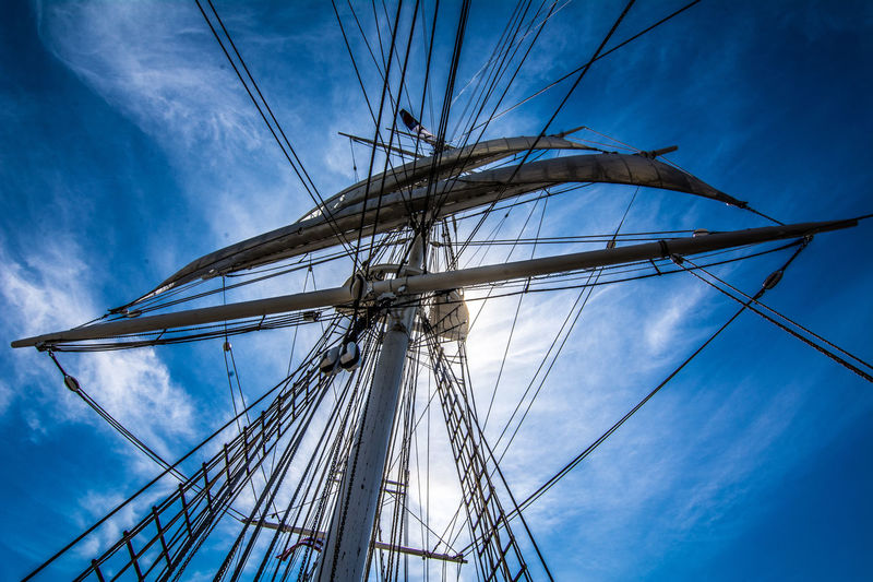 Blue Cloud Cloud - Sky Cloudy Complexity Connection Day Low Angle View Mast Nature Nautical Theme Nautical Vessel No People Outdoors Part Of Power Supply Ropes Sails Up Sky Tall Ship