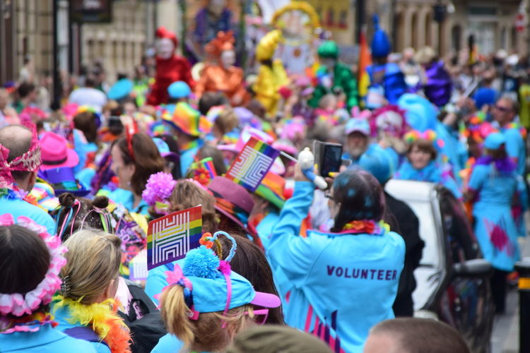 Hull 2017 volunteers at the UK Pride parade as part of Hull UK City of Culture 2017 (22nd July 2017) Colours Hull Hull City Of Culture 2017 Pride In Hull Adult Celebration Crowd Day Hull 2017 Large Group Of People Men Multi Colored Outdoors Parade People Pride Parade Rainbow Real People Togetherness Volunteers