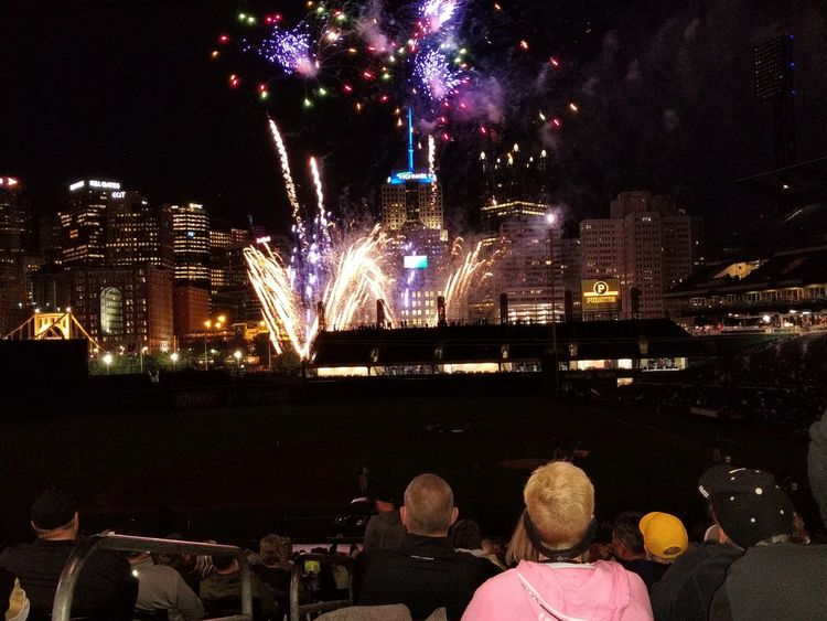 Night Celebration Arts Culture And Entertainment Illuminated Outdoors Firework Display City Multi Colored Cityscape People Sky Celebration Event Exploding Awe Motion Large Group Of People Pennsylvania Pittsburgh PNC Park Pittsburgh Pirates Baseball Stadium Spectator Excitement Firework - Man Made Object Celebration