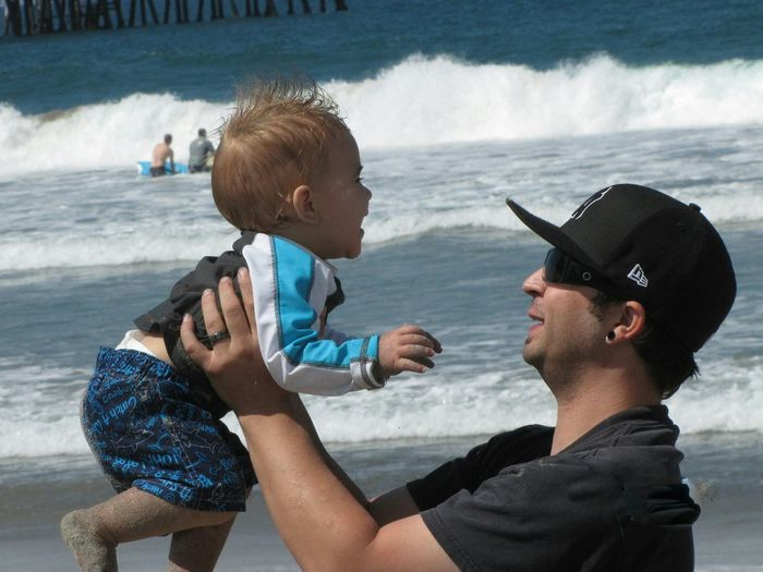 Capture The Moment Father & Son Fathersonlove Having Fun Beach My Favorite Photo