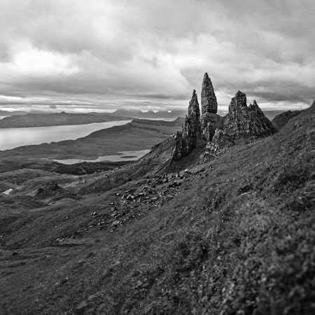 Old Man Of Storr on a cloudy morning on the Isle of Skye, Scotland. Basalt Rock Beauty In Nature Black And White Clouds Distance View Grass Inner Hebrides Isle Of Skye Lakes  Landscape Majestic Monochrome Nature No People Old Man Of Storr Outdoors Quiaring Rock Formation Scenics Scotland Scottish Landscape Scottish Scenery Square Format Texture Viewpoint Miles Away