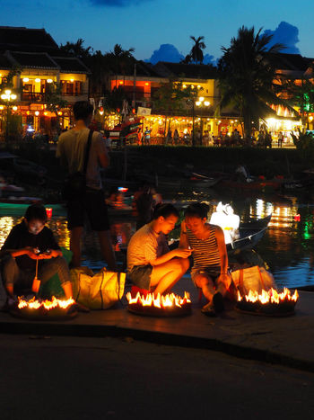 EyeEm Best Shots EyeEmNewHere Hoi An Travel Photography Vietnam Celebration Cultures Fire Flame Illuminated Lantern Lifestyles Night Real People Togetherness Traditional Festival Travel Destinations