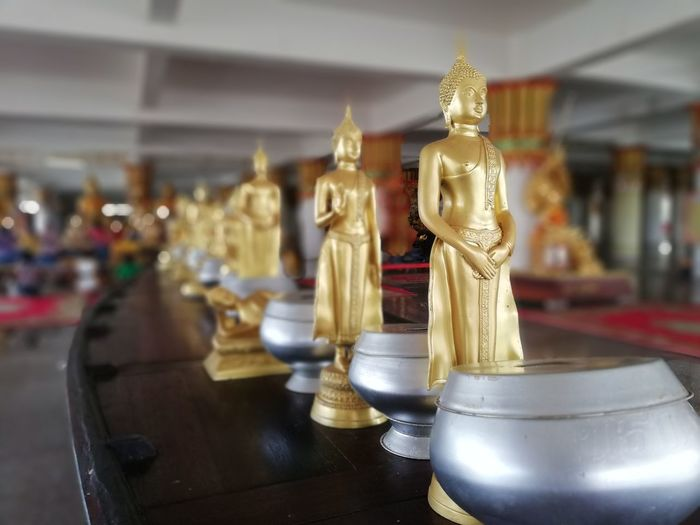 Buddhist Temple BUDDHISM IS LOVE Gold Statue Gold Colored Place Of Worship Religion Idol Sculpture Buddhism Sculpted Golden Carving - Craft Product Golden Color Buddha Temple - Building Royalty