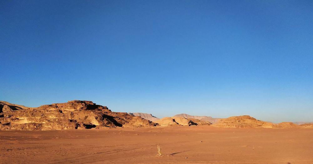 In the middle of wadi rum desert, jordan