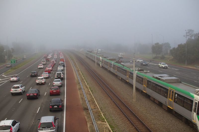 Foggy freeway