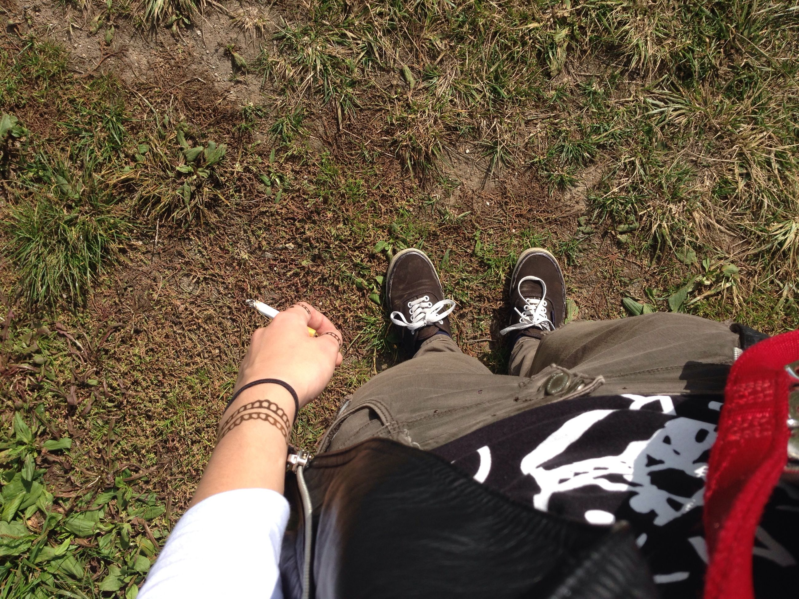 low section, person, shoe, personal perspective, high angle view, lifestyles, footwear, grass, leisure activity, human foot, standing, men, field, part of, jeans, canvas shoe, unrecognizable person