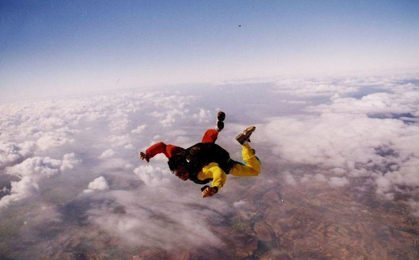 High angle view of man skydiving