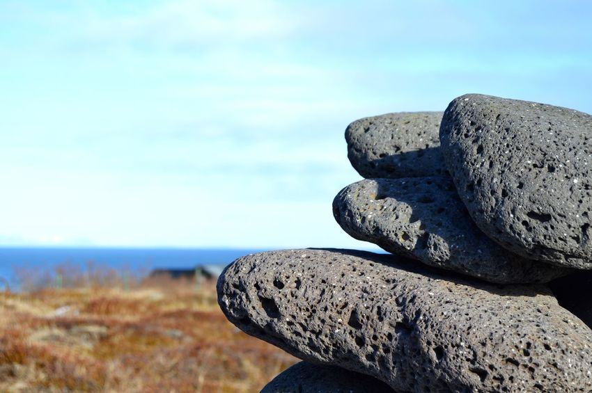 Iceland Horizon Over Water Rocks Close-up Volcanic Rock Stacked Nikon D3200