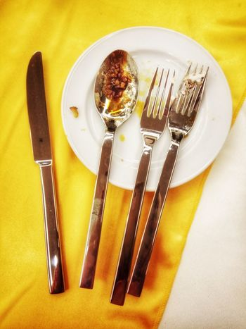 silverware Spoon Plate Fork Table Knife Silverware  No People High Angle View Table Indoors  Cutlery Colored Background Cooking Utensil Close-up Plate Yellow Background