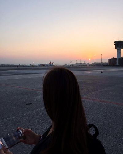 Sunrise One Person Adult People Journeyphotography Airport Runway Airplane Travel Traveling Travel Photography Travelling Traveler Traveller Summer Summertime OldButGold Nature Photography Sun Airport